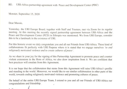 URI Europe express appreciation for the Partnership Agreement between URI Africa and PDC