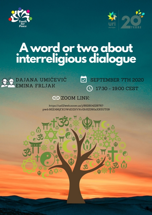 A word or two about interreligious dialogue poster